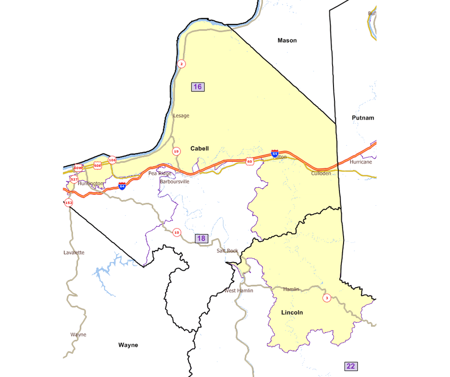 Huntington Wv Zip Code Map.West Virginia Legislature S District Maps