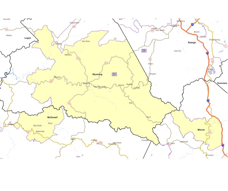 I 77 West Virginia Map.West Virginia Legislature S District Maps