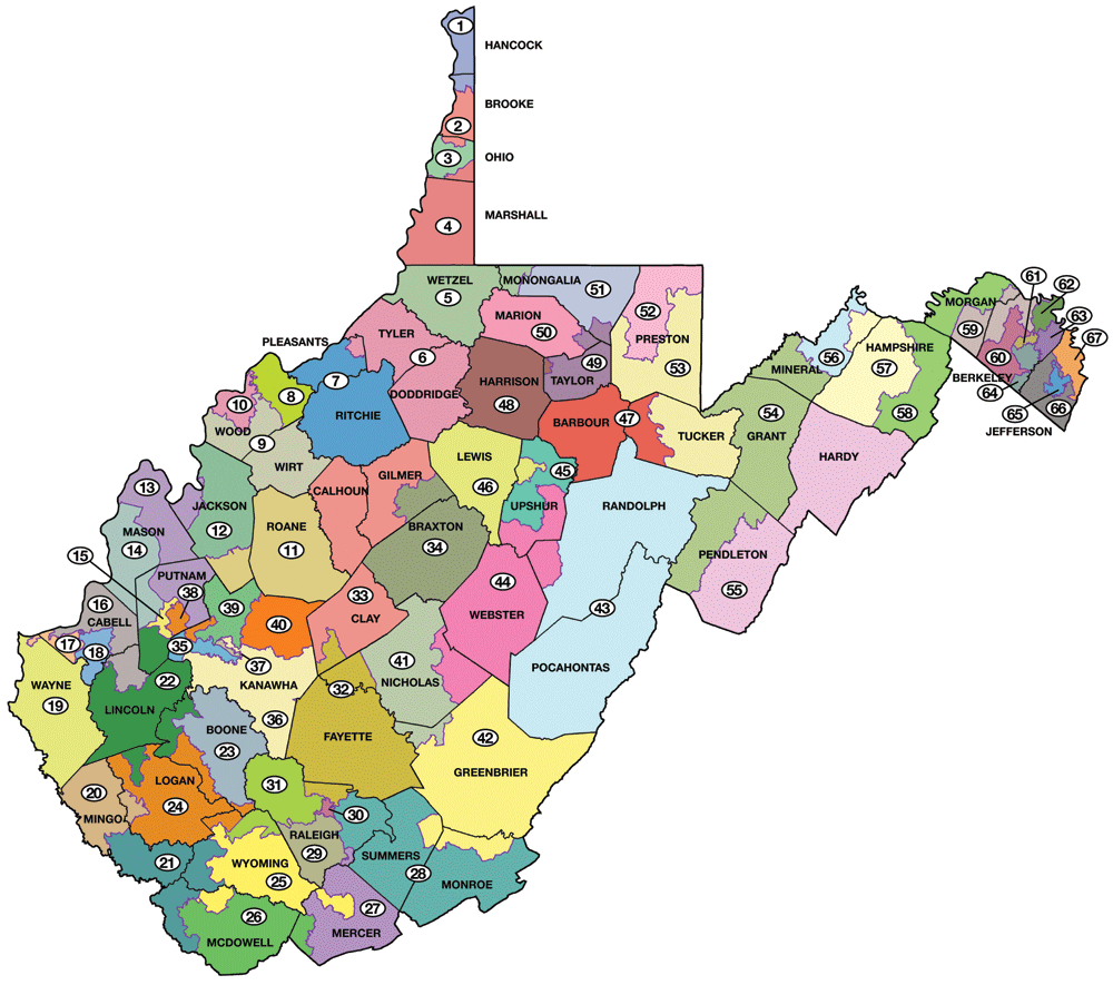 How Many Delegates Per State Map.West Virginia Legislature S District Maps