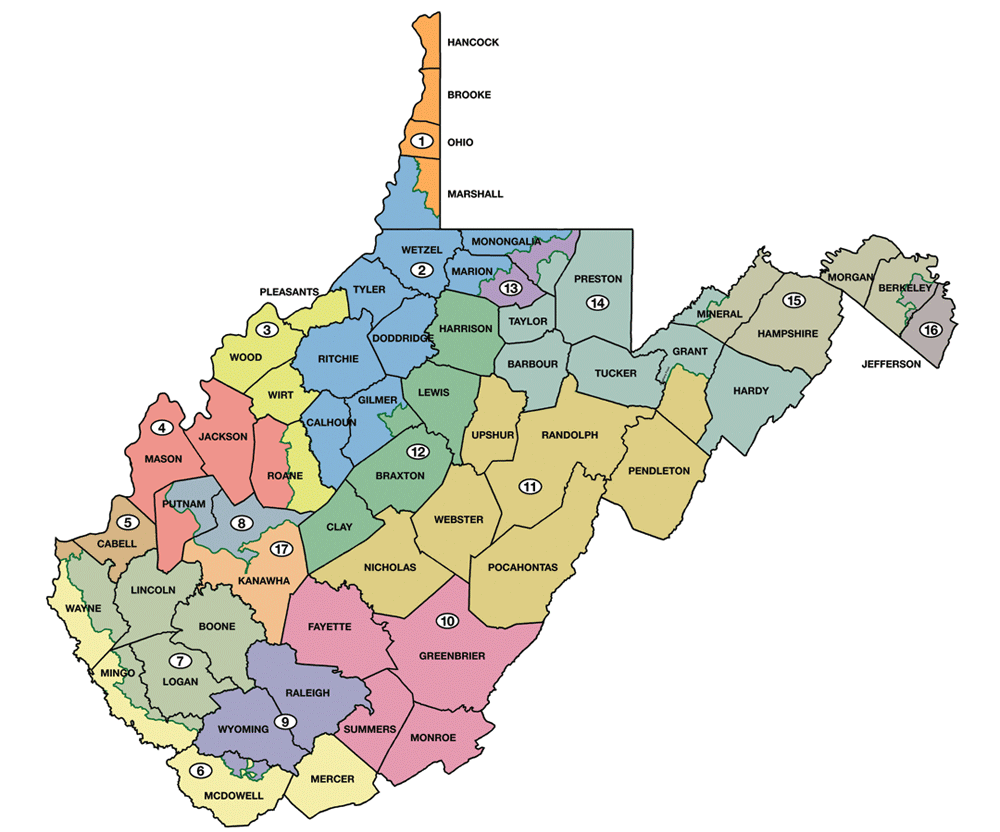 Map Of Us Senators.West Virginia Legislature S District Maps