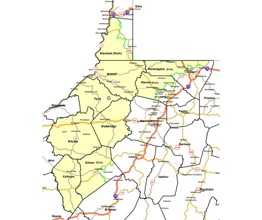 West Virginia Senate - Map of west virginia counties