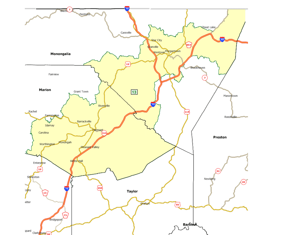 West Virginia Legislatures District Maps - Us house district 13 map