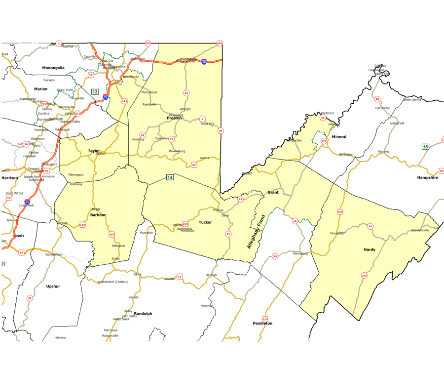 West Virginia Legislatures District Maps - West virginia on us map